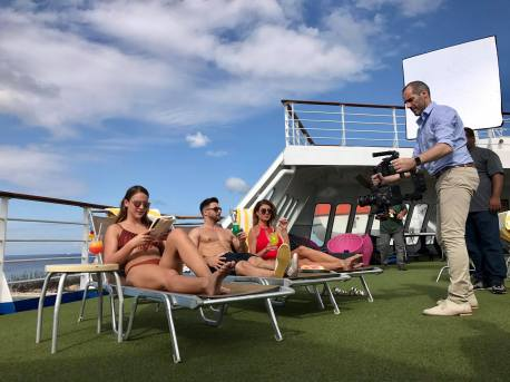 Shooting a commercial for Bahamas Paradise Cruise Line